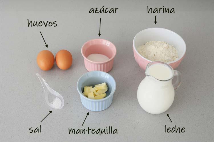 Ingredientes para hacer crepes caseros