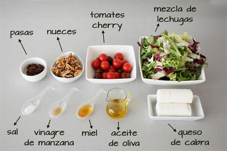 Ingredientes para hacer ensalada de queso, nueces y vinagreta de miel