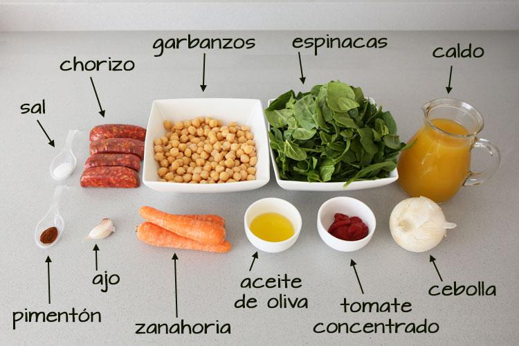 Ingredientes para hacer garbanzos con chorizo en Mambo