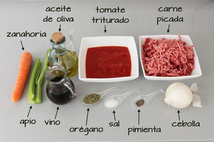 Ingredientes para hacer salsa boloñesa