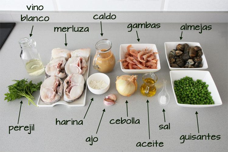 Ingredientes para hacer merluza en salsa verde