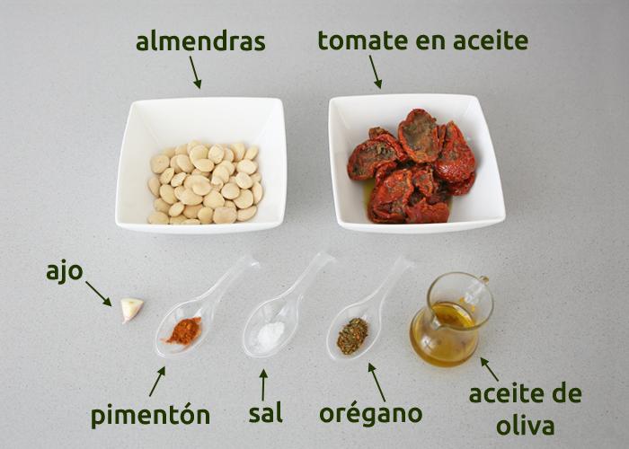 Ingredientes para hacer paté vegetal