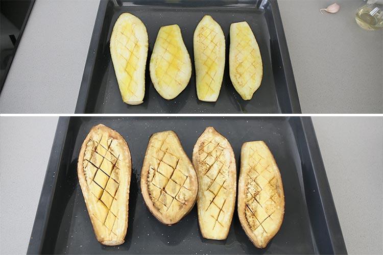 Berenjenas asadas en el horno
