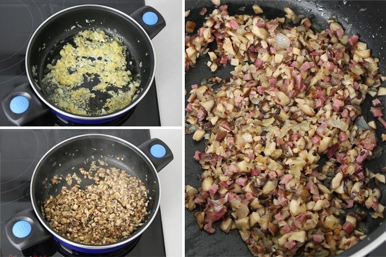 Pochar la cebolla, añadir las setas y el jamón