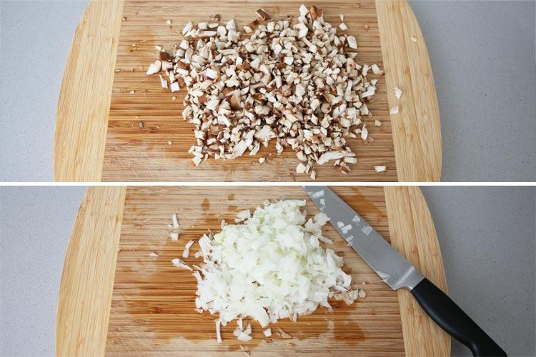 Picar la cebolla y las setas muy finamente