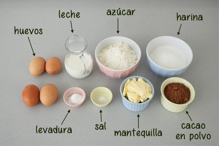 Ingredientes para hacer bizcocho de cacao