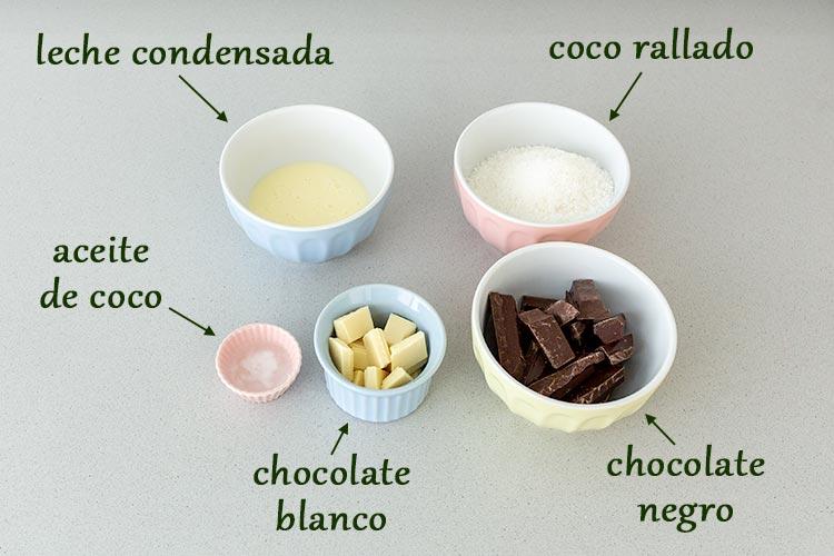 Ingredientes para hacer bolitas de coco y chocolate