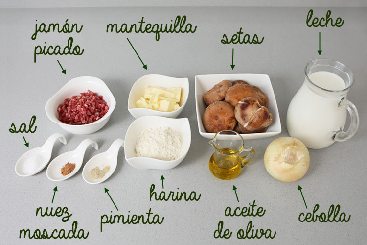 Ingredientes para hacer croquetas de setas y jamón
