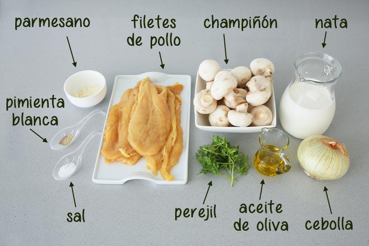 Ingredientes para hacer pollo en salsa cremosa con champiñones