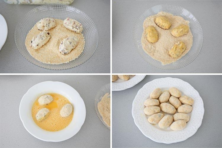 Pasar las croquetas por pan rallado