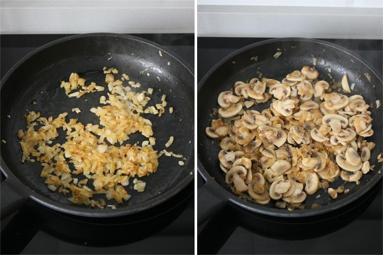 Pochar la cebolla y añadir los champiñones