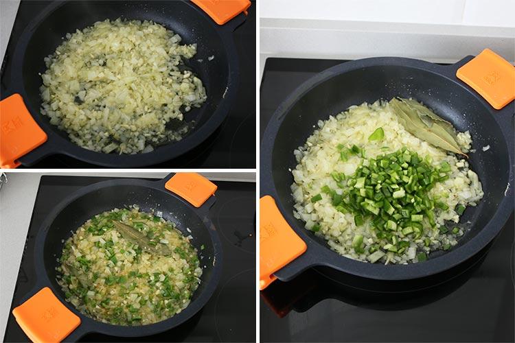 sofrito con cebolla, pimiento verde y laurel