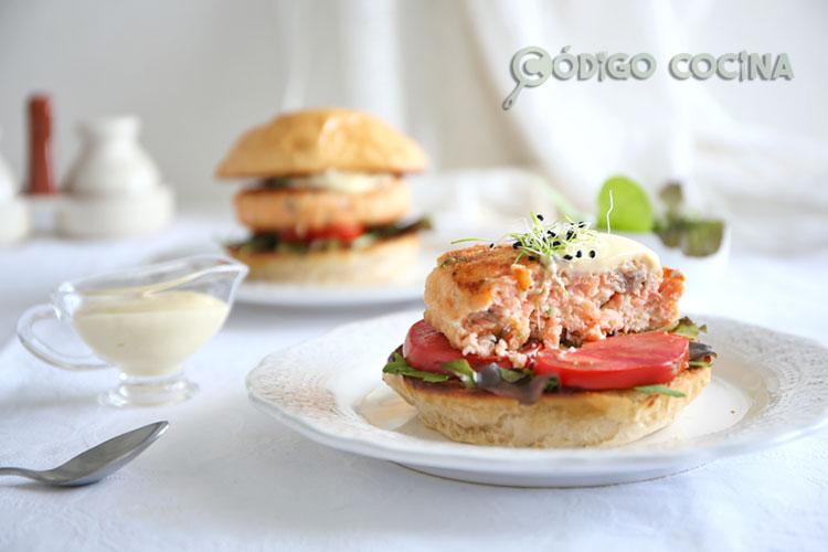 Hamburguesa de salmón casera