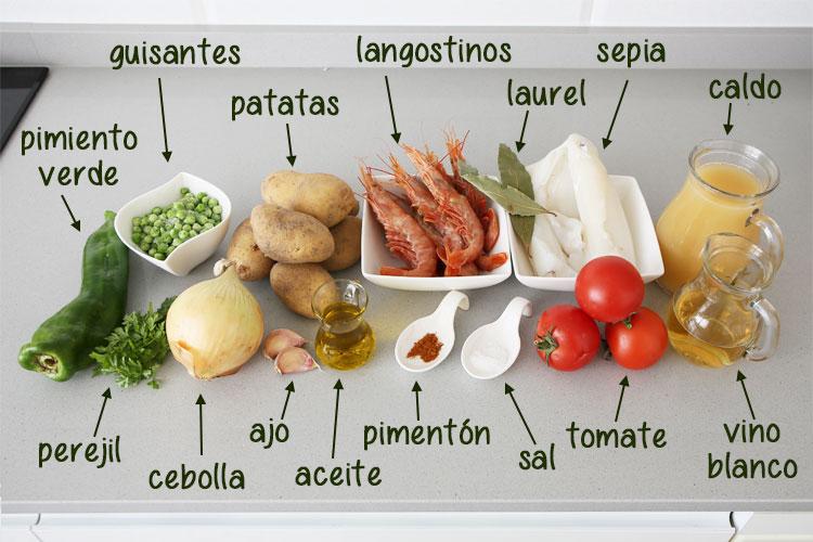 Ingredientes para hacer guiso de patatas con sepia y langostinos