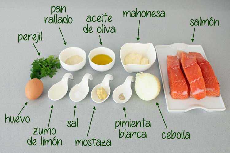 Ingredientes para hacer hamburguesas de salmón caseras