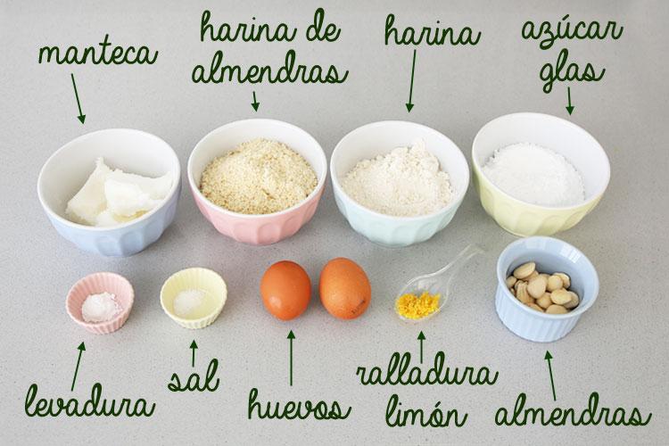Ingredientes para hacer pastas de almendra