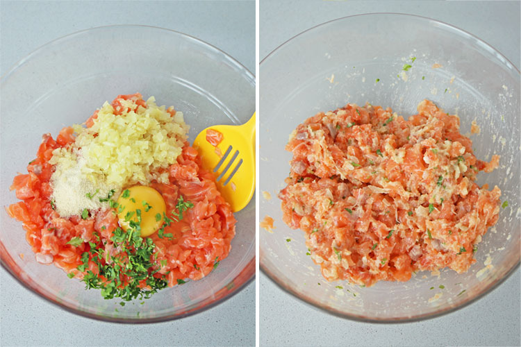 ingredientes masa de hamburguesa de salmón