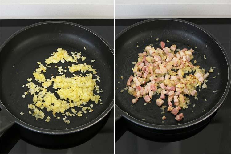 Pochar la cebolla y saltear el bacon