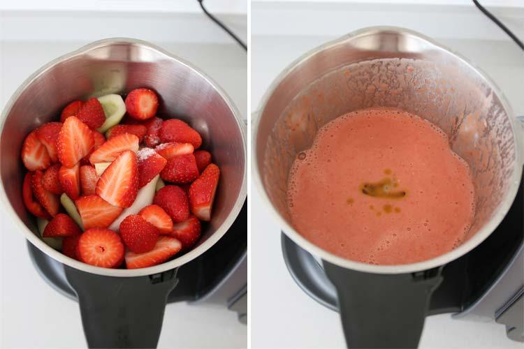 Triturar los ingredientes del gazpacho