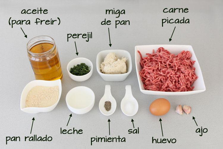 Ingredientes para hacer las albóndigas