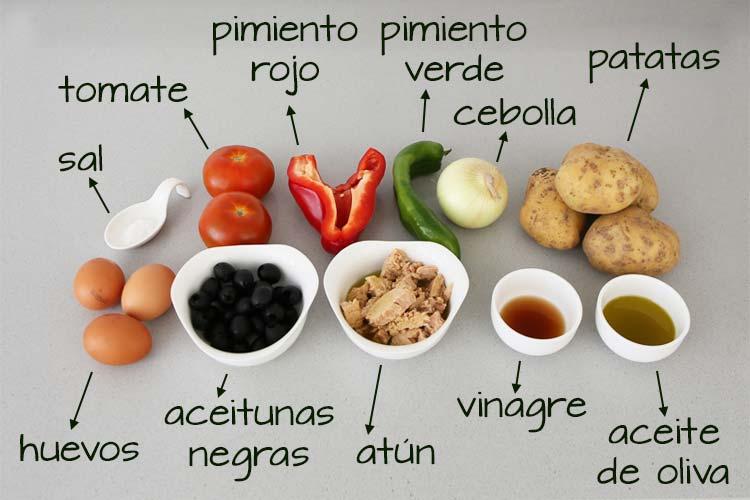 Ingredientes para hacer ensalada campera
