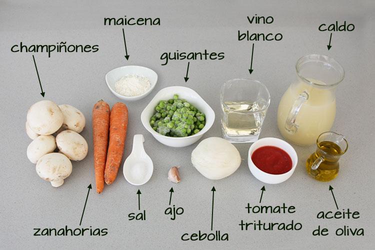 Ingredientes de salsa de albóndigas a la jardinera