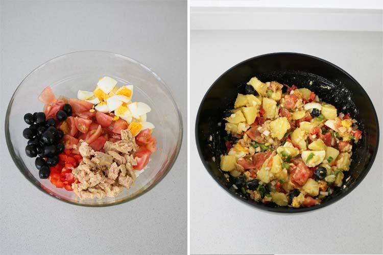 Mezclar ingredientes de ensalada de patata