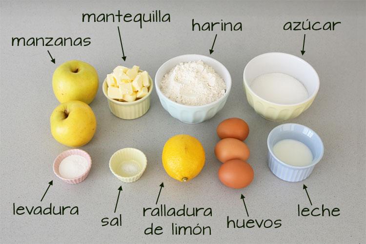 Ingredientes para hacer bizcocho de manzana clásico