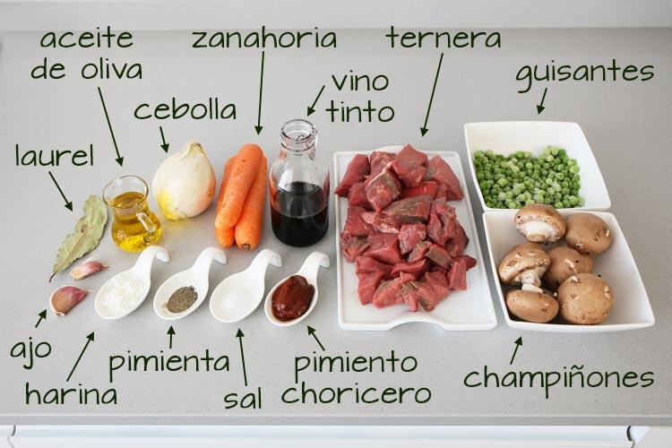 Ingredientes para hacer el estofado de ternera