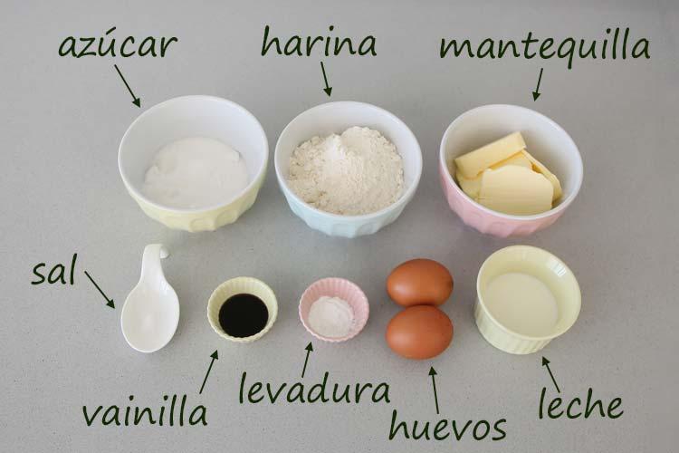 Ingredientes para hacer madeleines