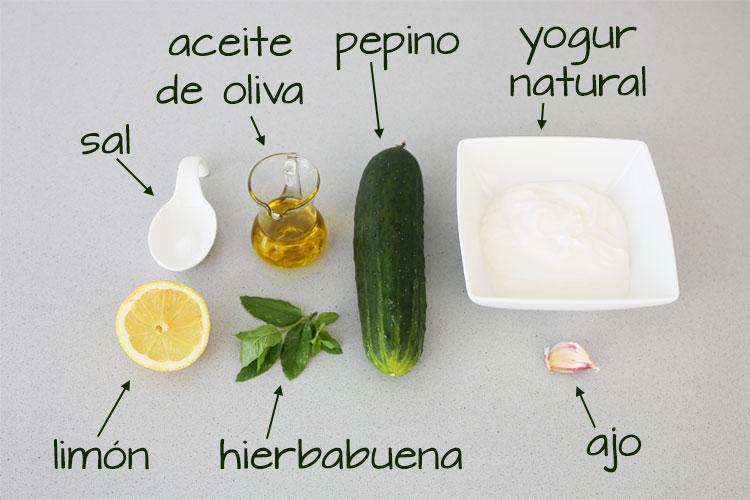 Ingredientes para hacer tzatziki