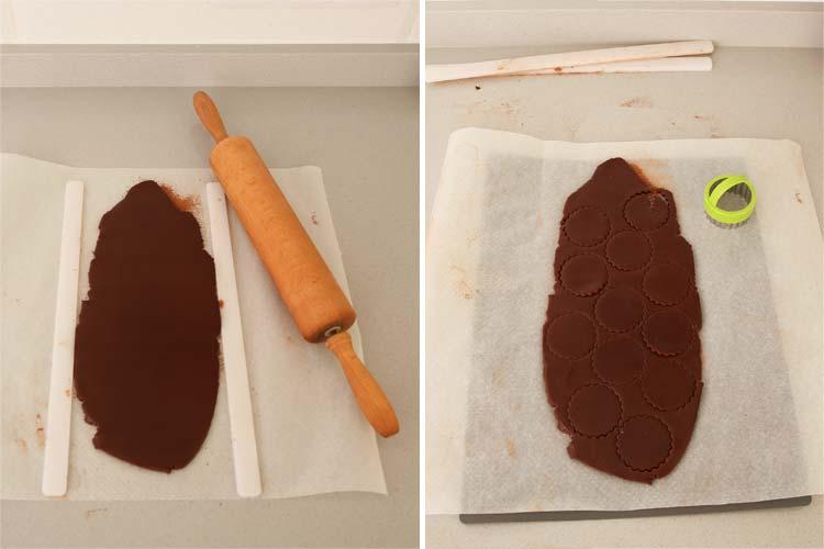 Masa de galletas de chocolate estirada y cortada