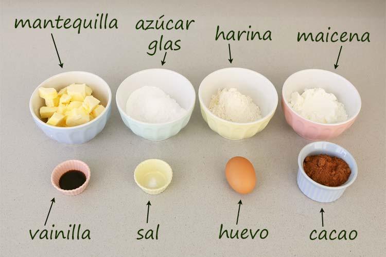 Ingredientes para hacer galletas de chocolate