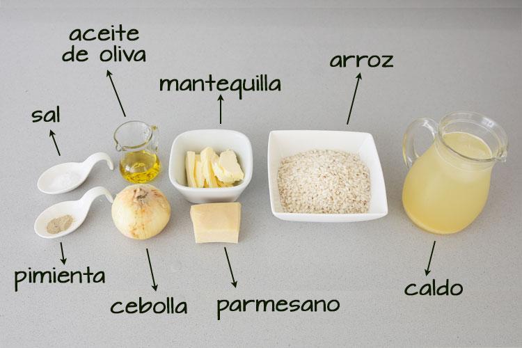Ingredientes para hacer risotto a la parmesana con Mambo