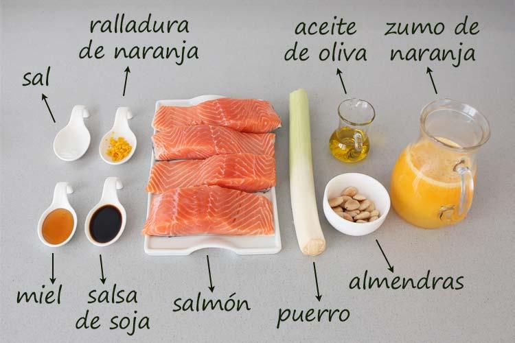 Ingredientes para hacer salmón en salsa de naranja