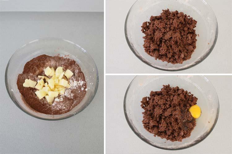 Mezclar los ingredientes de las galletas de cacao