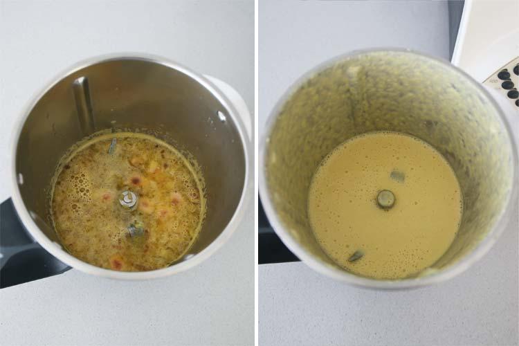 Triturar la salsa junto con las almendras