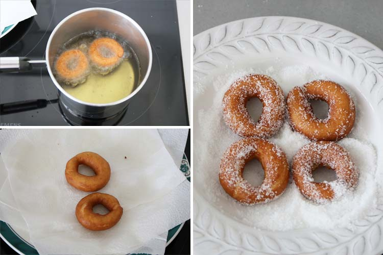 Freír las rosquillas y recubrirlas con azúcar