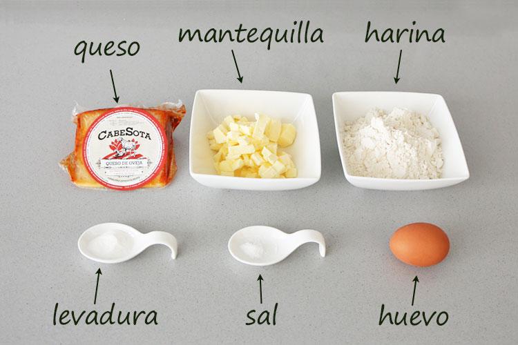 Ingredientes para hacer galletas de queso curado