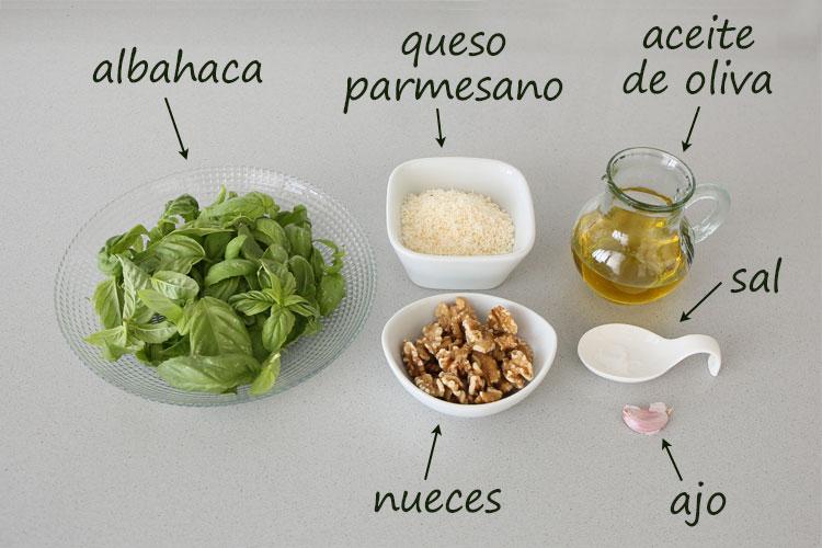 Ingredientes para hacer pesto de nueces