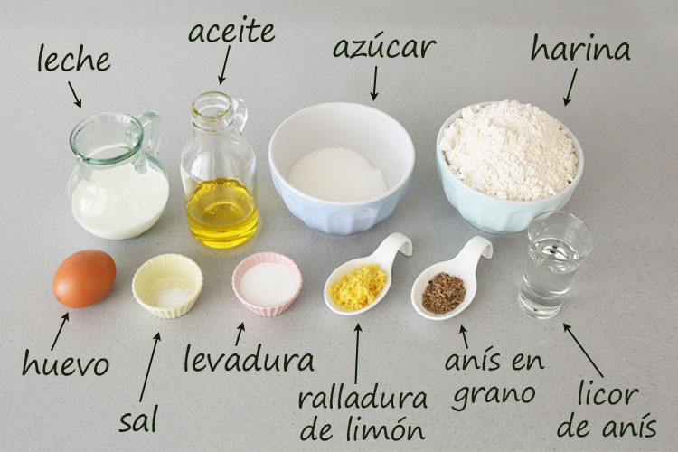 Ingredientes para hacer rosquillas de anís