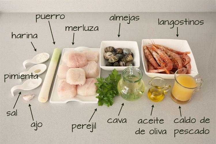 Ingredientes para hacer merluza al cava con langostinos