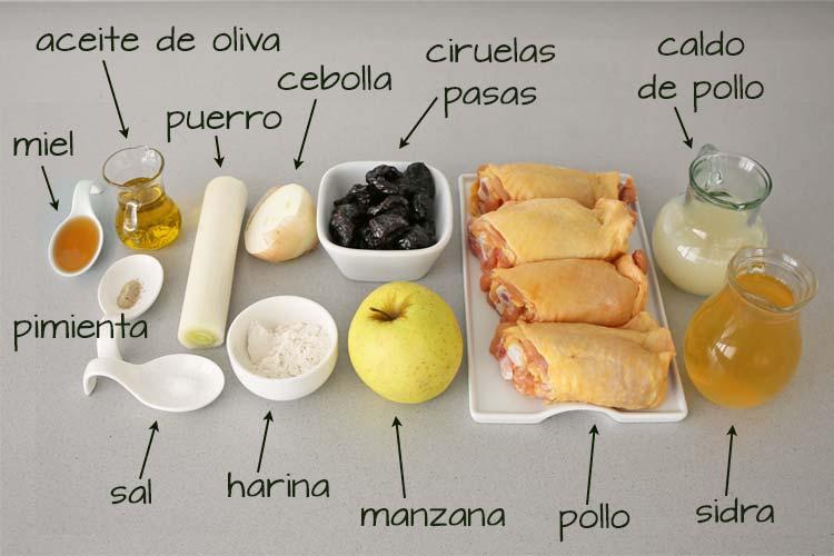 Ingredientes para hacer pollo con salsa de sidra y manzana