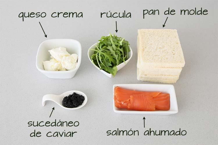 Ingredientes para hacer rollitos de salmón ahumado y queso crema