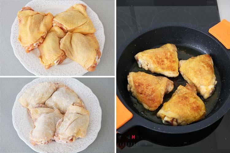 Pollo enharinado y frito
