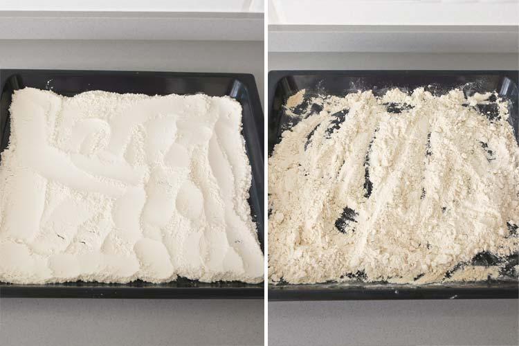 harina tostada en el horno