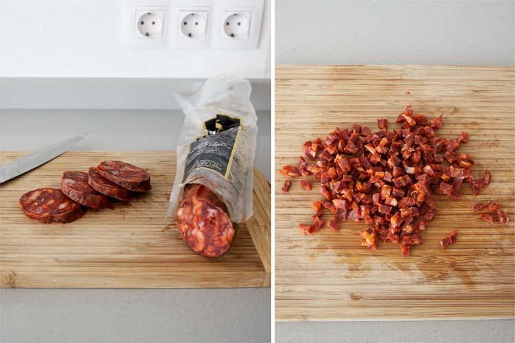 Chorizo ibérico troceado