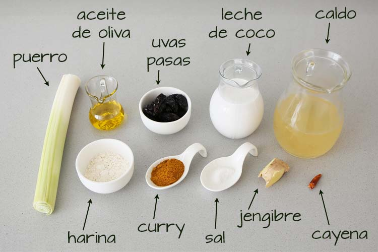 Ingredientes para hacer la salsa al curry