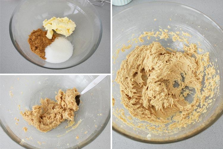 Mezclar ambos tipos de azúcar y la mantequilla. Incorporar el huevo.