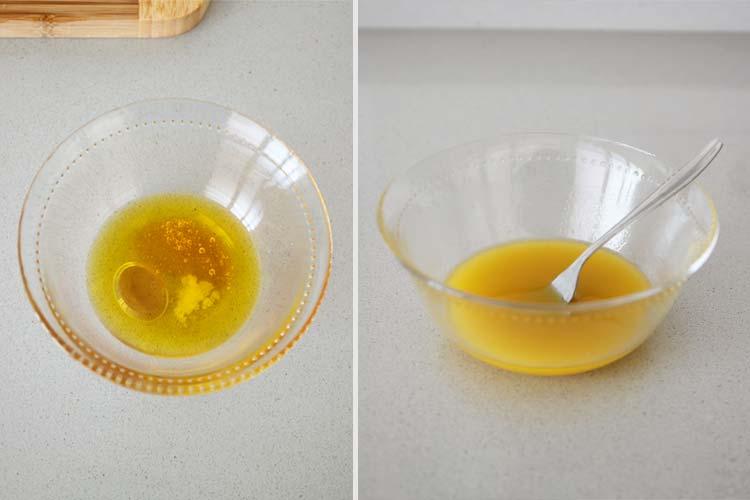 Preparar la vinagreta de miel